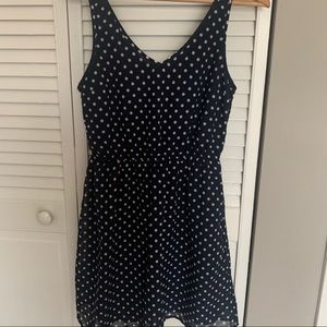 H&M navy polka dot vneck dress